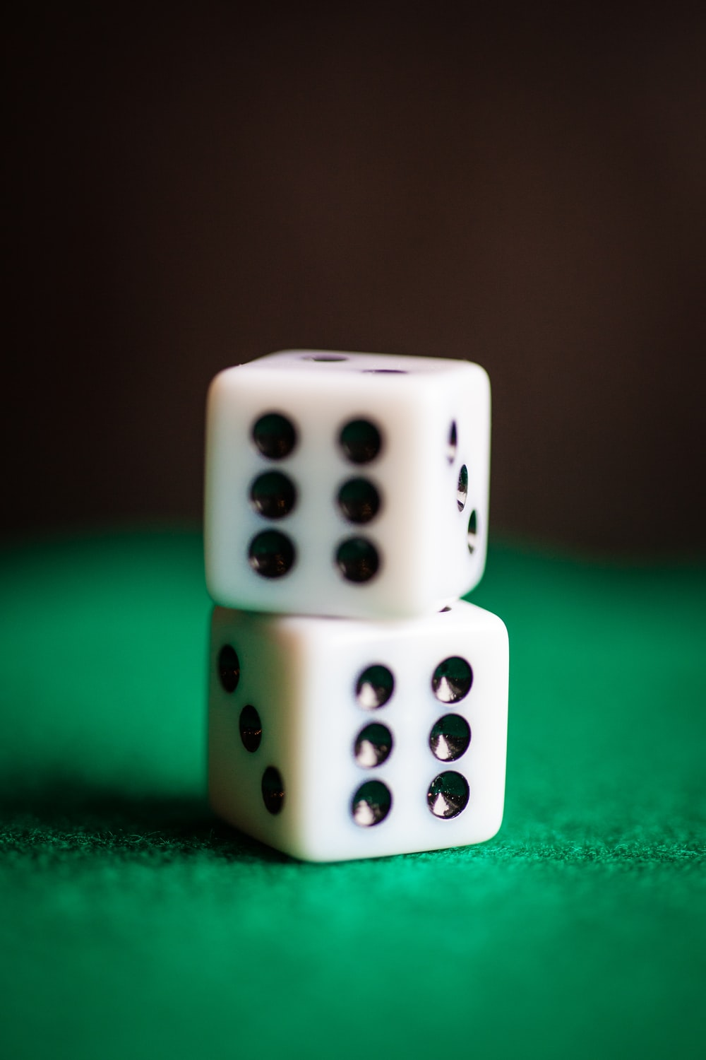 two white-and-black die
