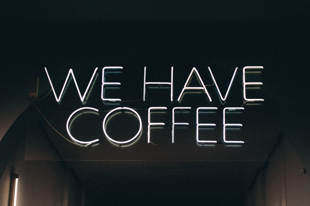 white We have coffee neon light