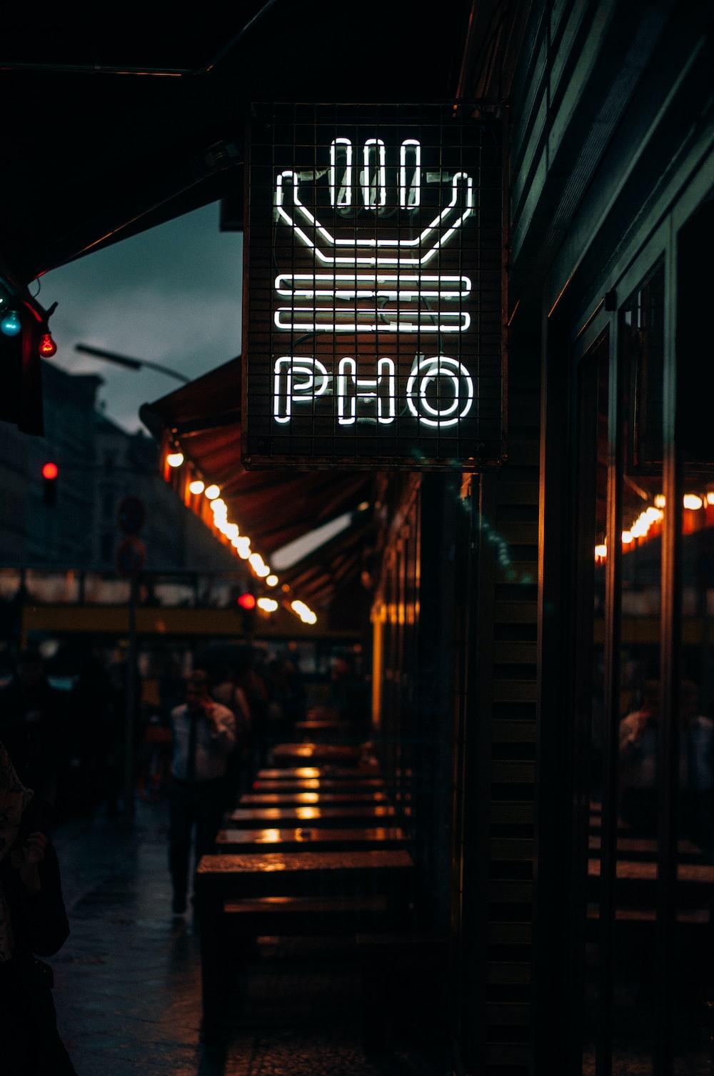 white PHO neon signage