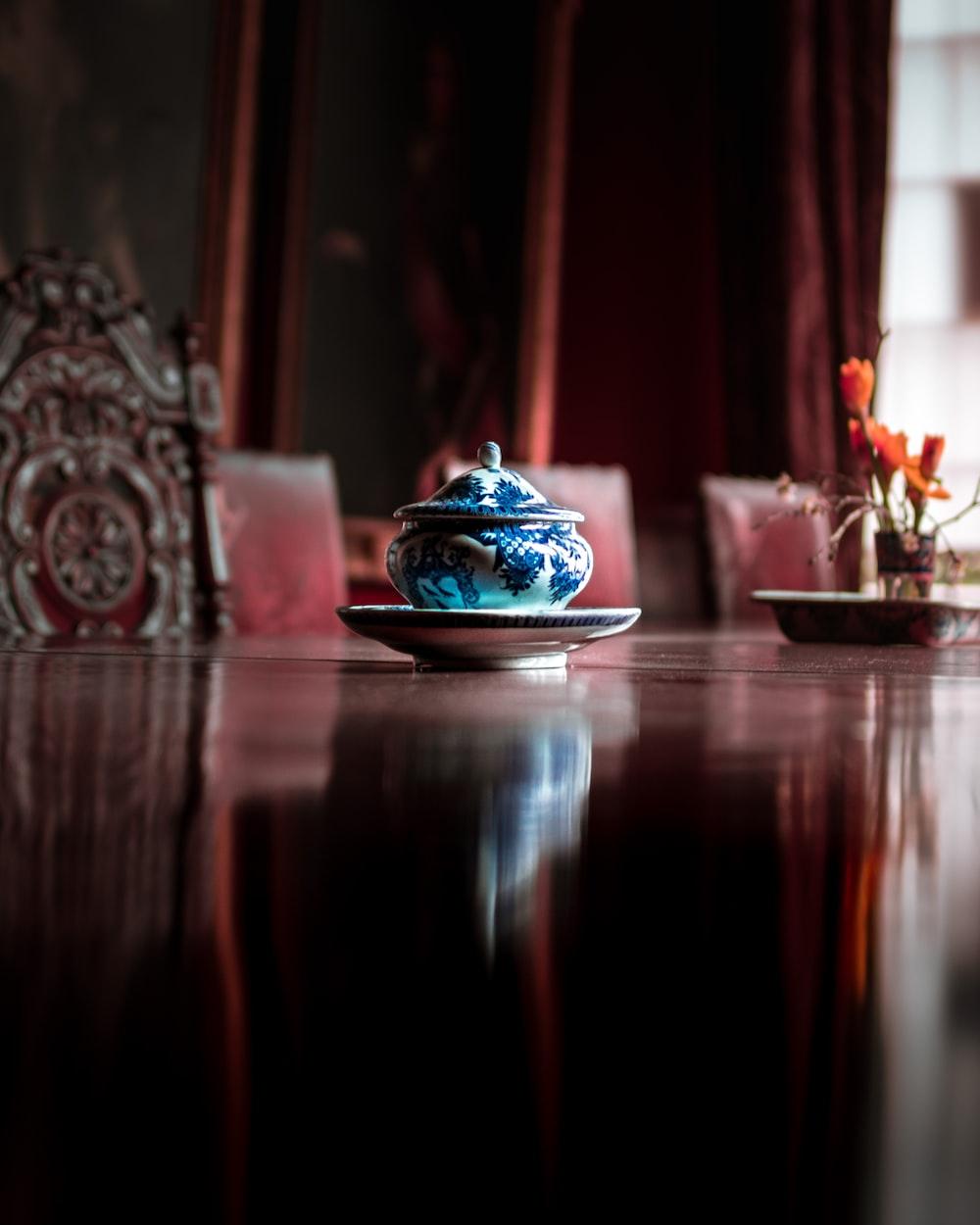 blue floral jar with saucer