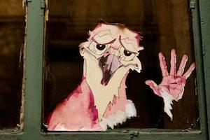 bird character and hand glass mirror art