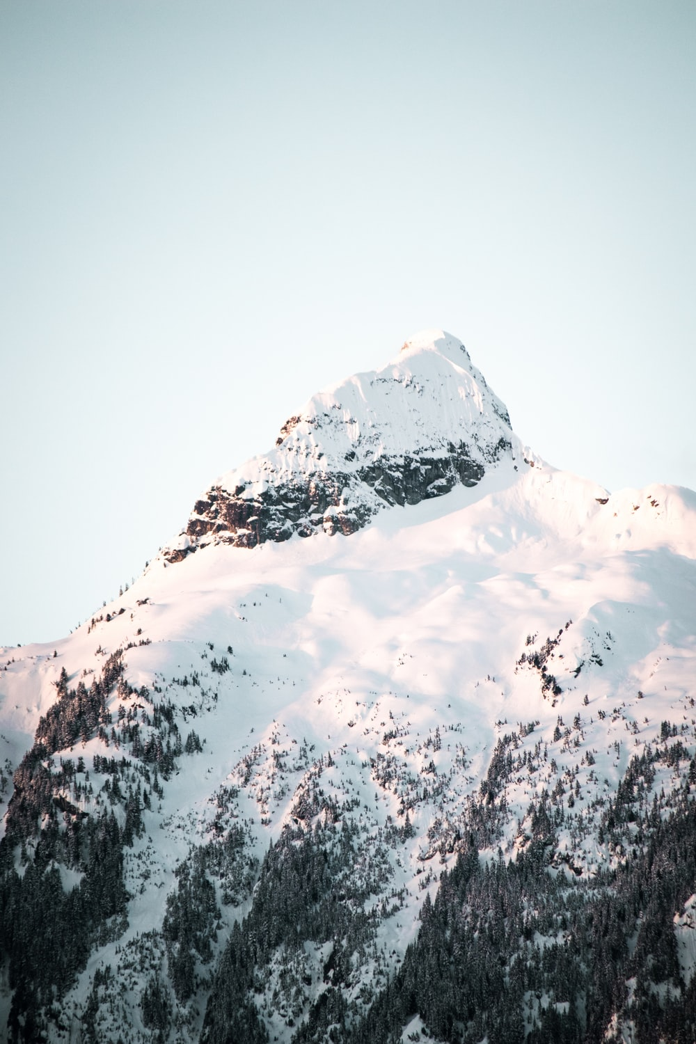 low-angle photography of snow-covered mountain