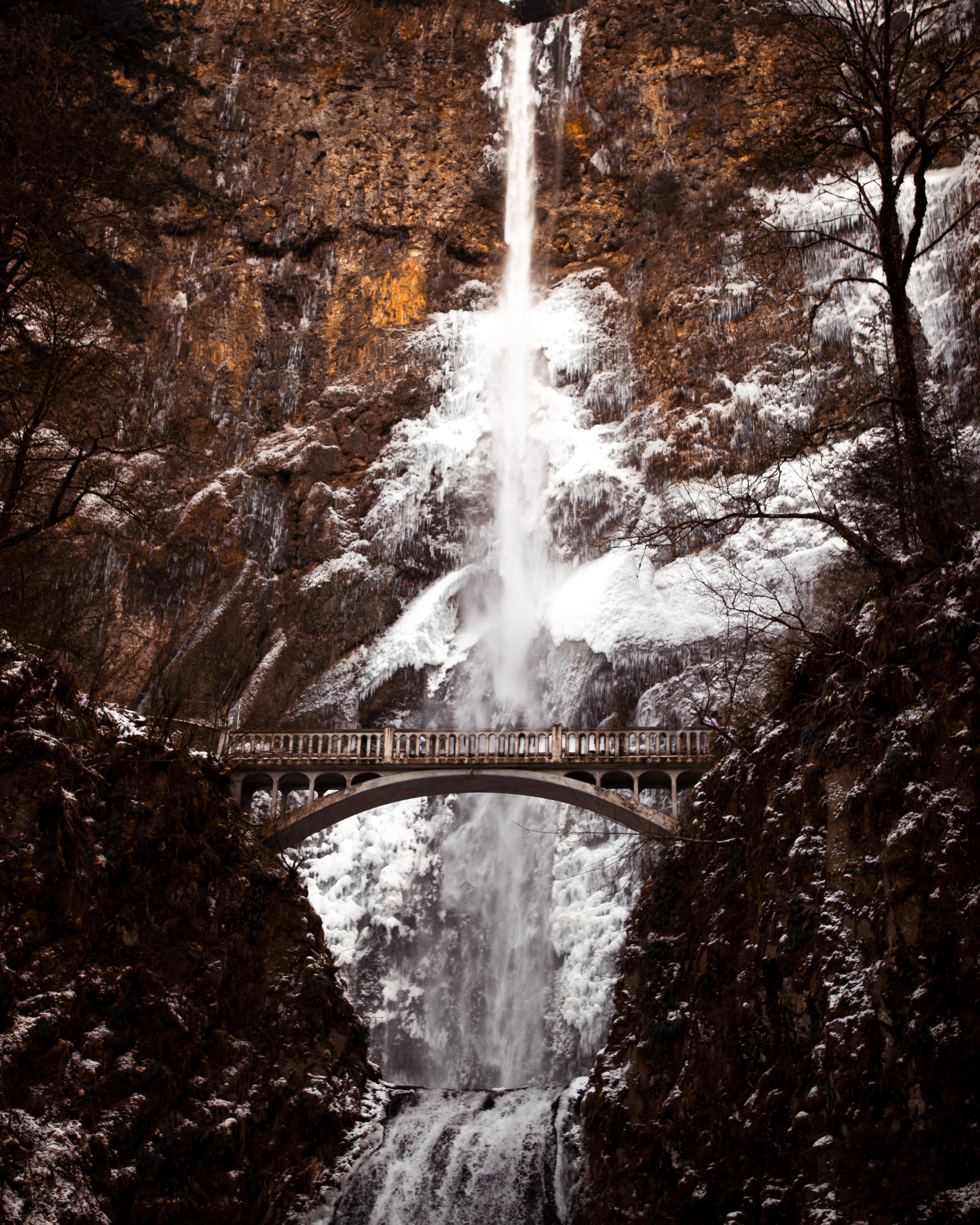 bridge near waterfalls