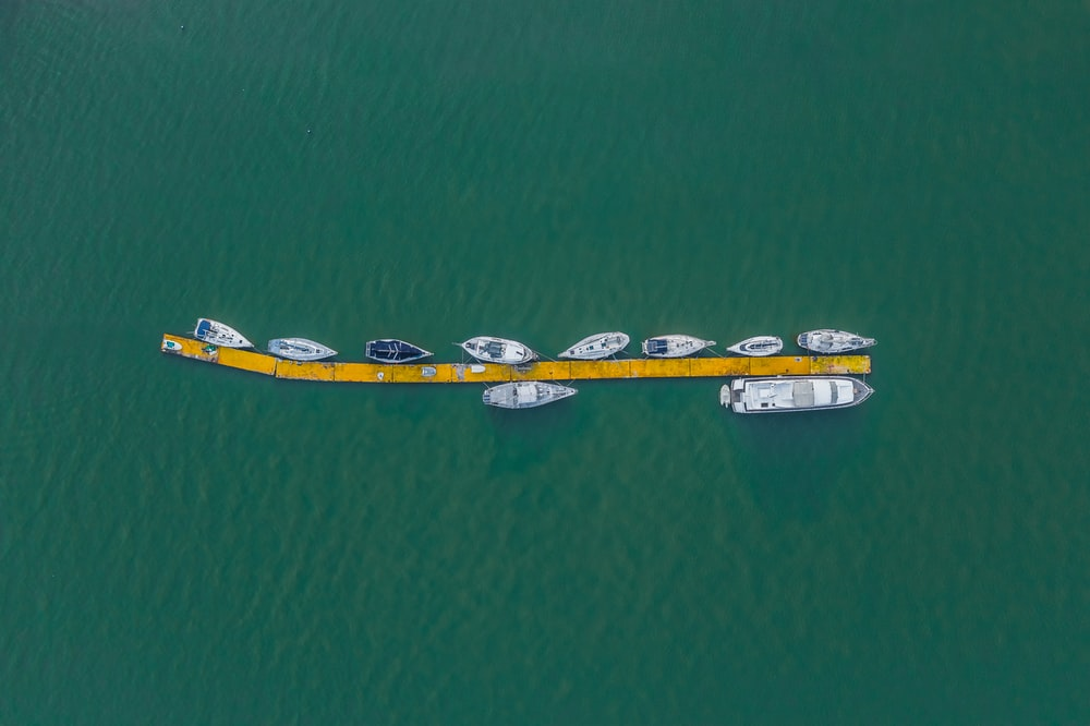 aerial view of boats docked at daytime