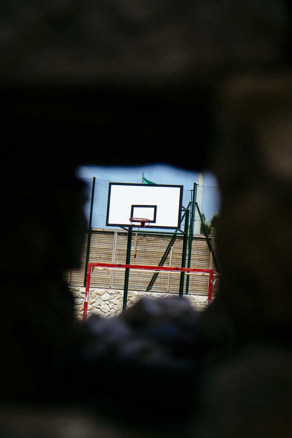 white and black basketball system
