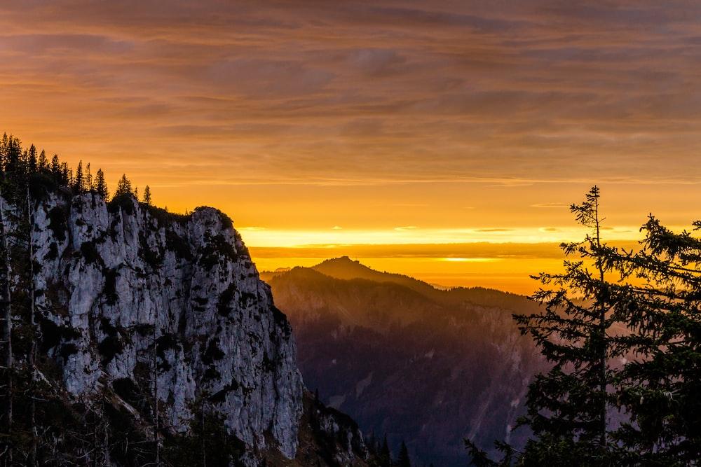 white and black mountain scenery
