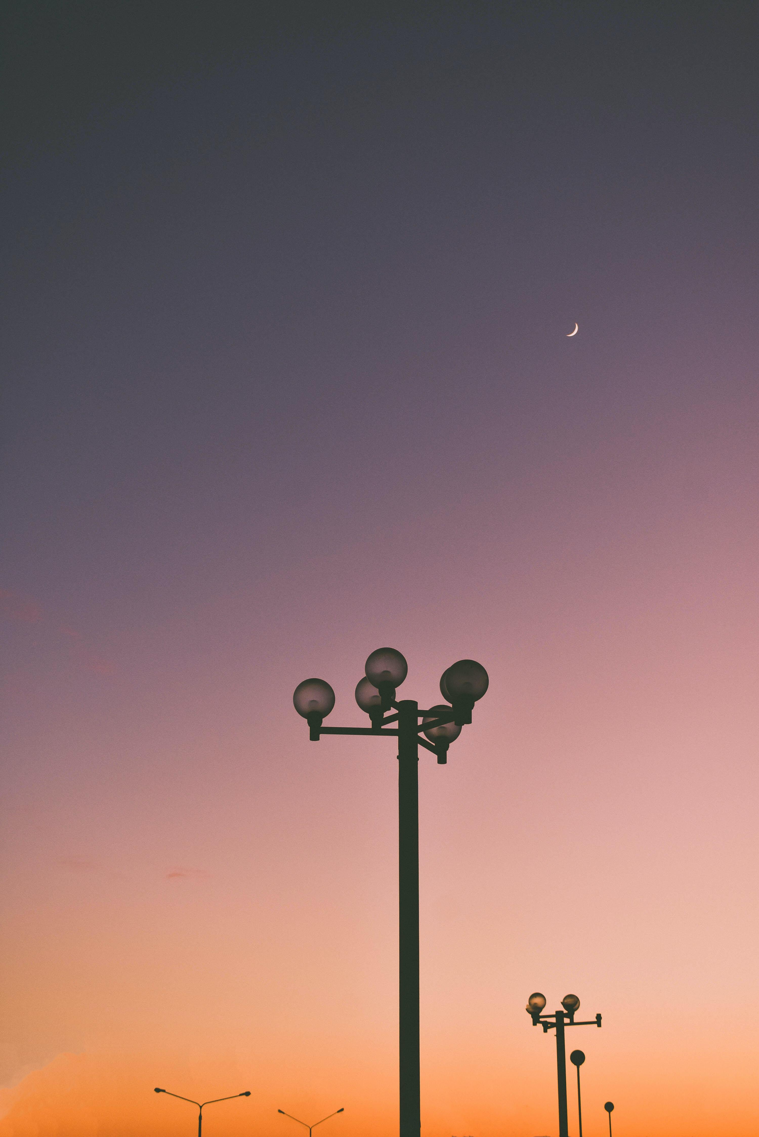 gray street light during golden hour