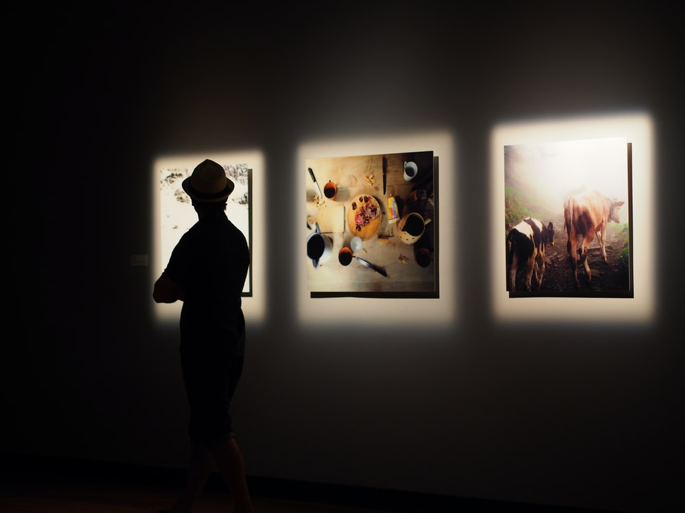 silhouette photo of man in front of painting