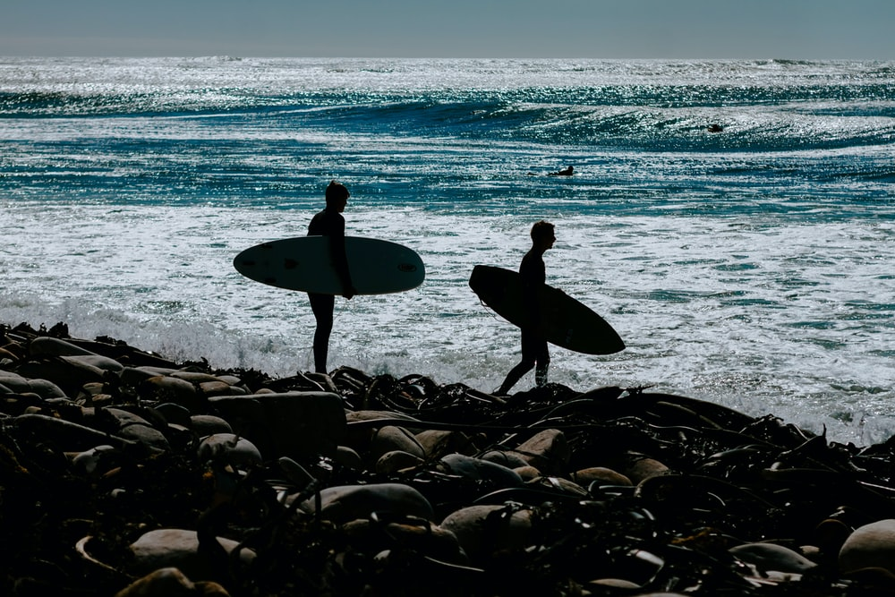 two persons holding surfboards near body of water