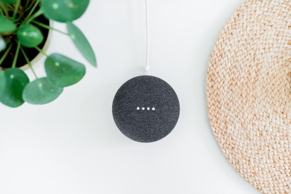 chalk Google Home Mini on white surface