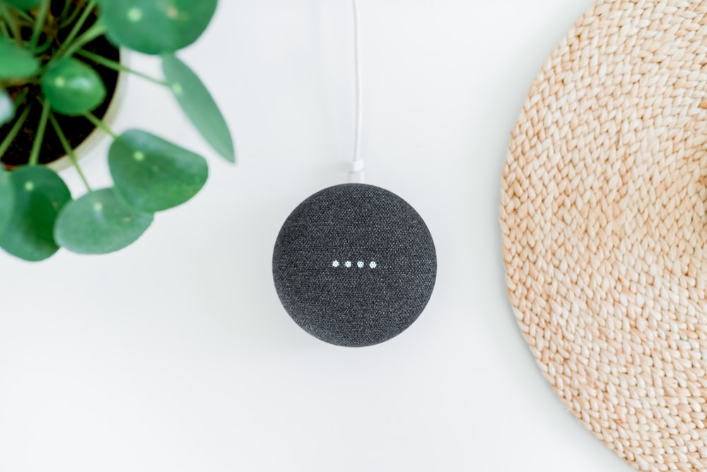 chalk Google Home Mini on white surface