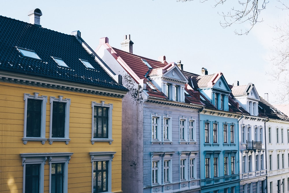 assorted-color houses