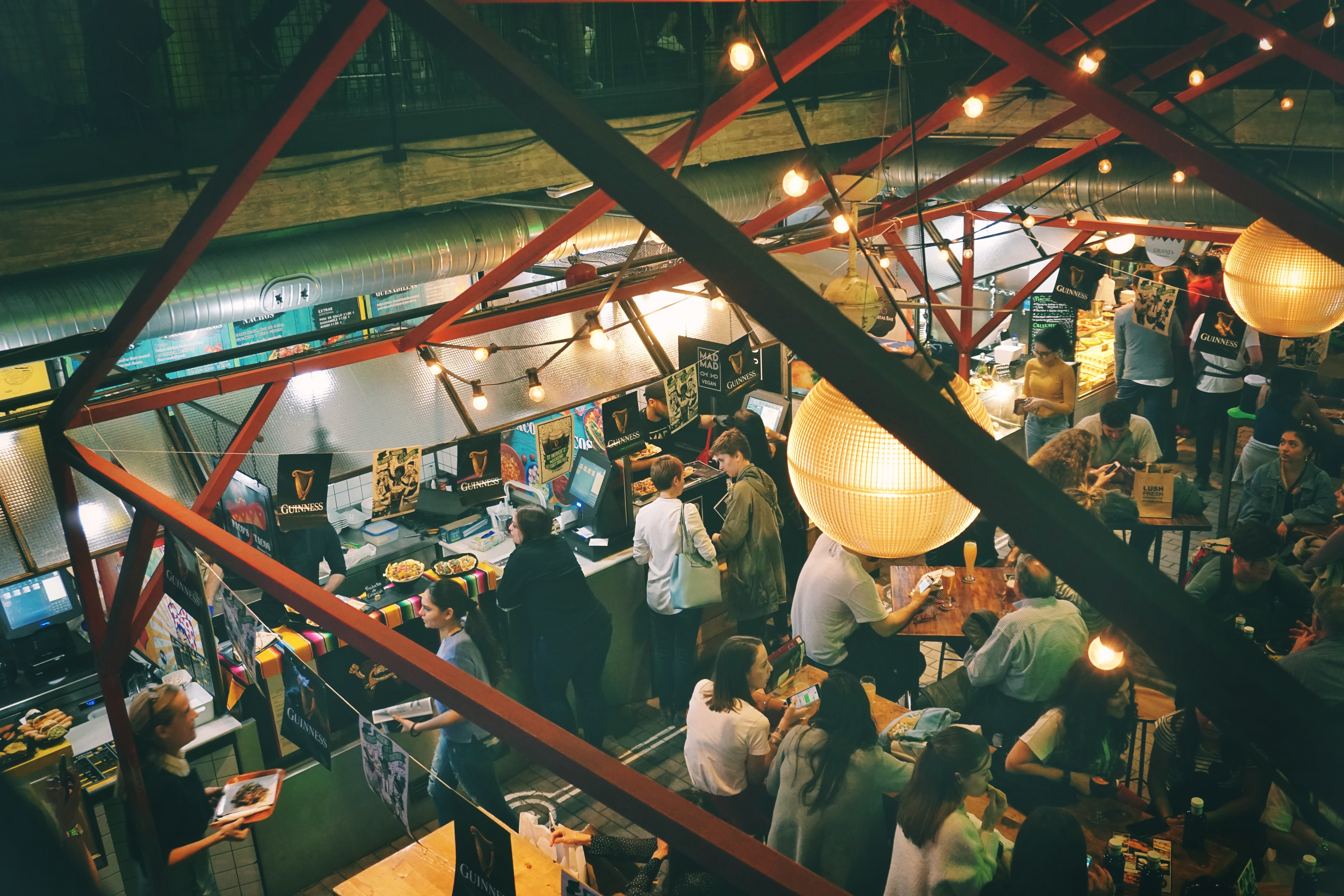 aerial photography of people at dining room