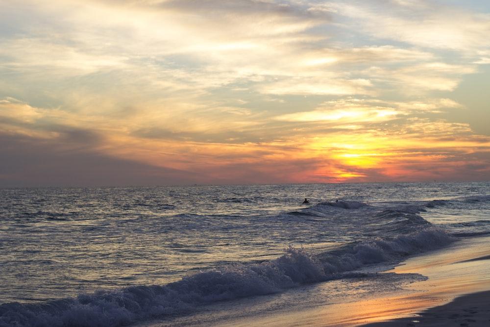shoreline with ocean waves