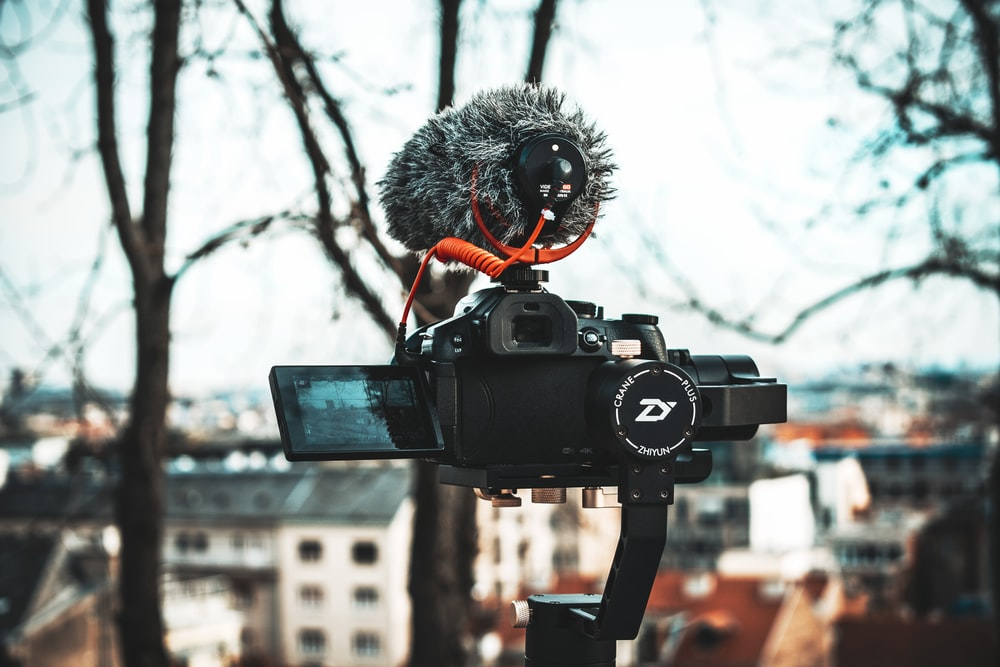 black camera with gimbal
