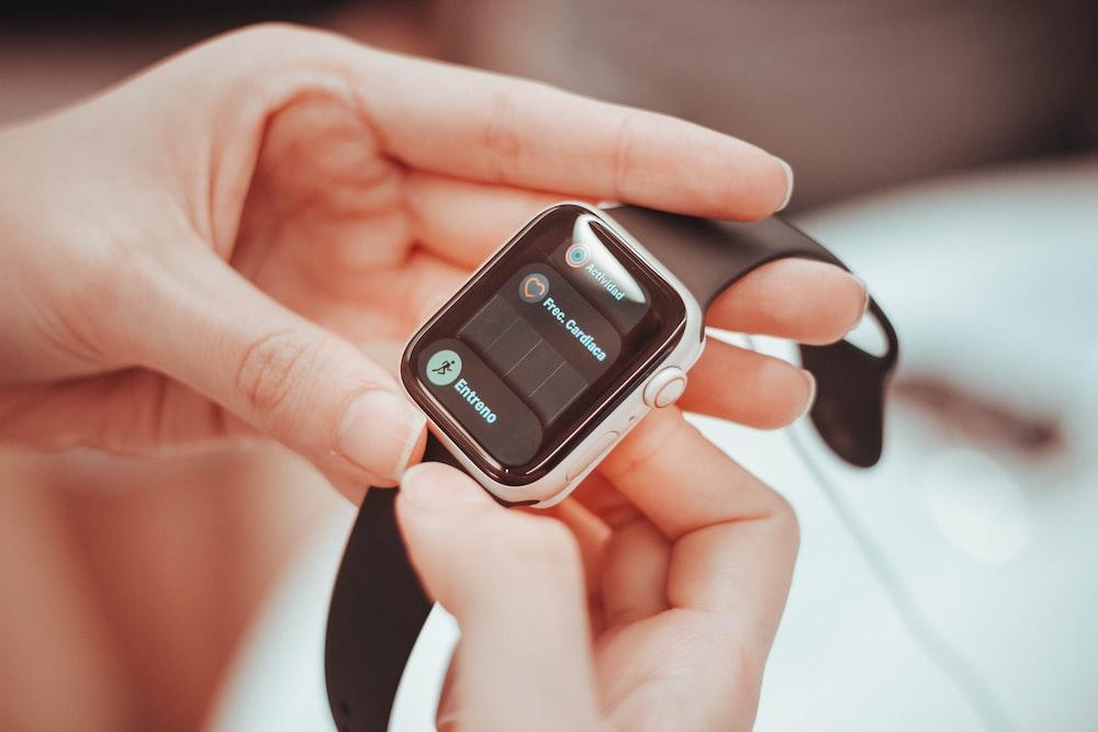 silver smartwatch