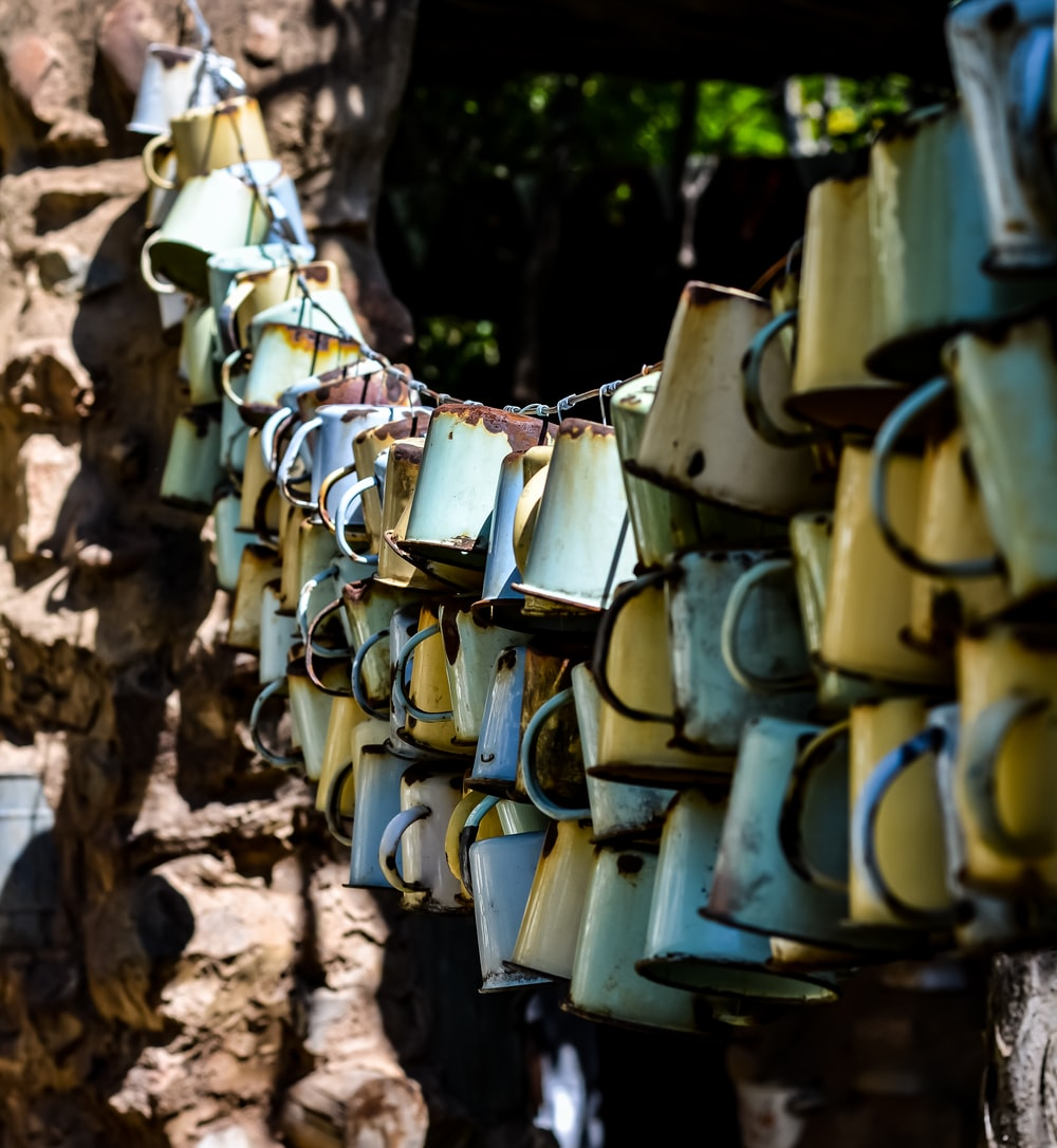 hanging rusty cups