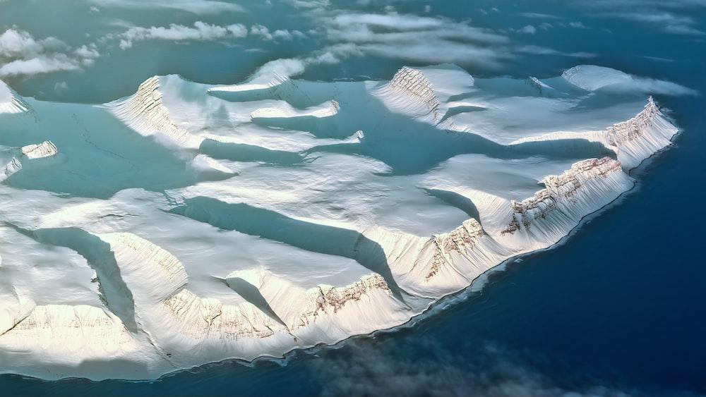 aerial photography of glacier