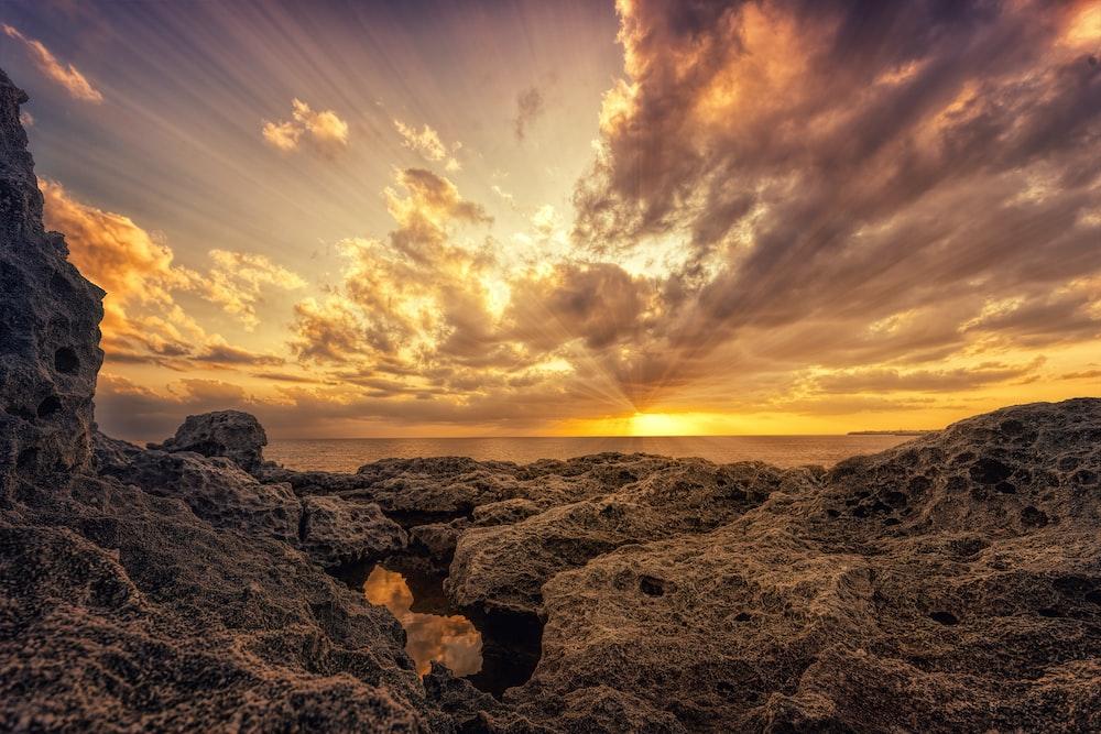 orange rocks during golden hour