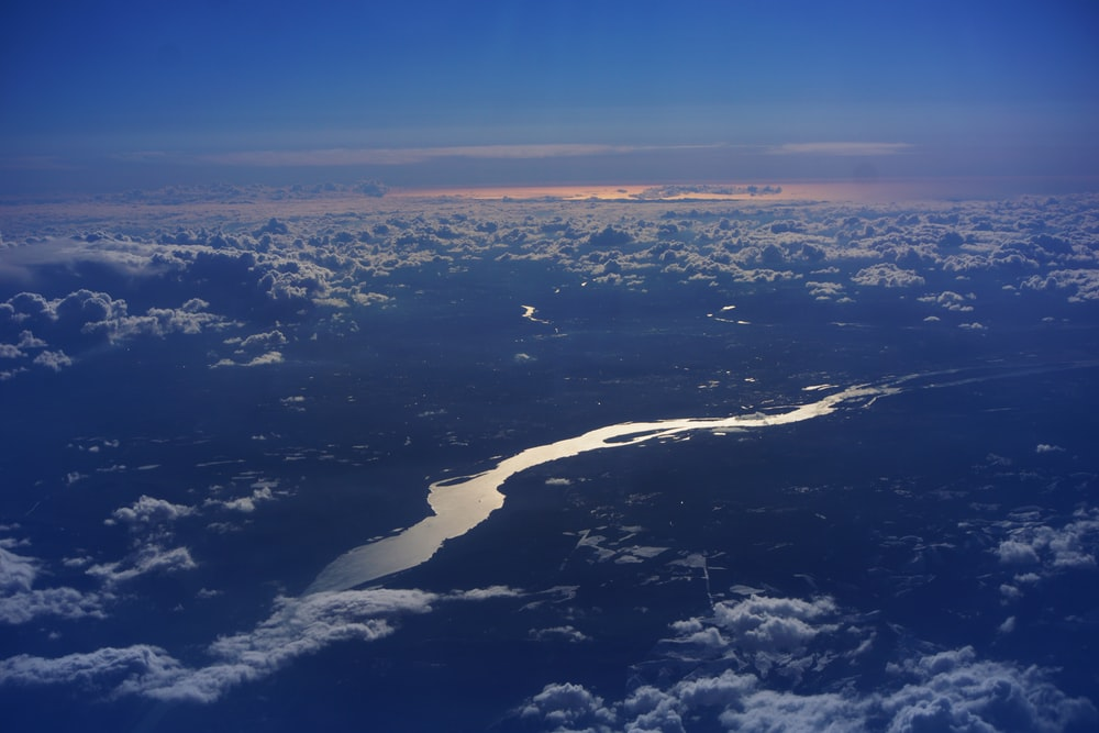 view of a river from the sky
