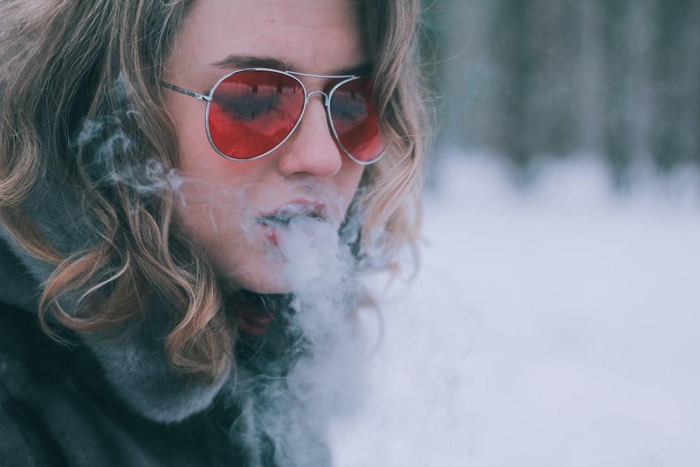 woman smoking outdoor