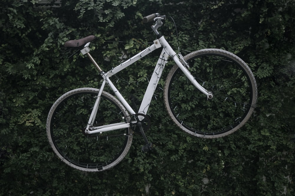 white bicycle on green plants