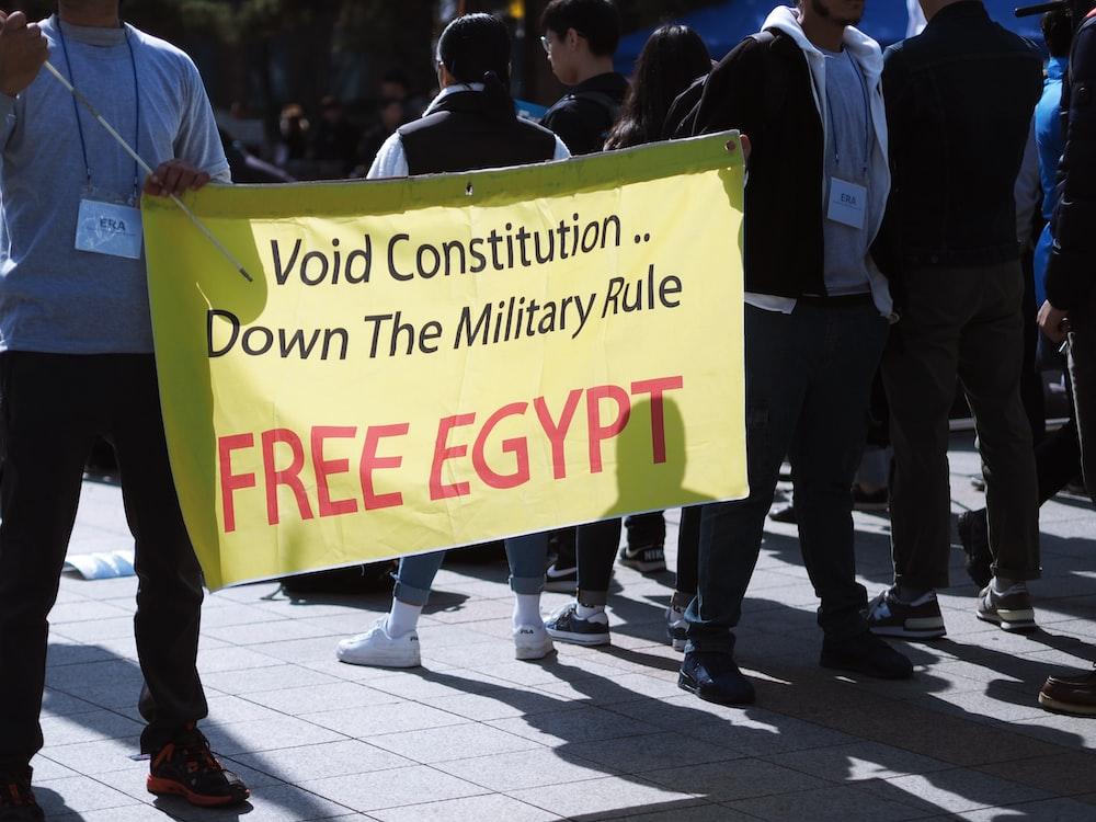 tarpaulin of Free Egypt