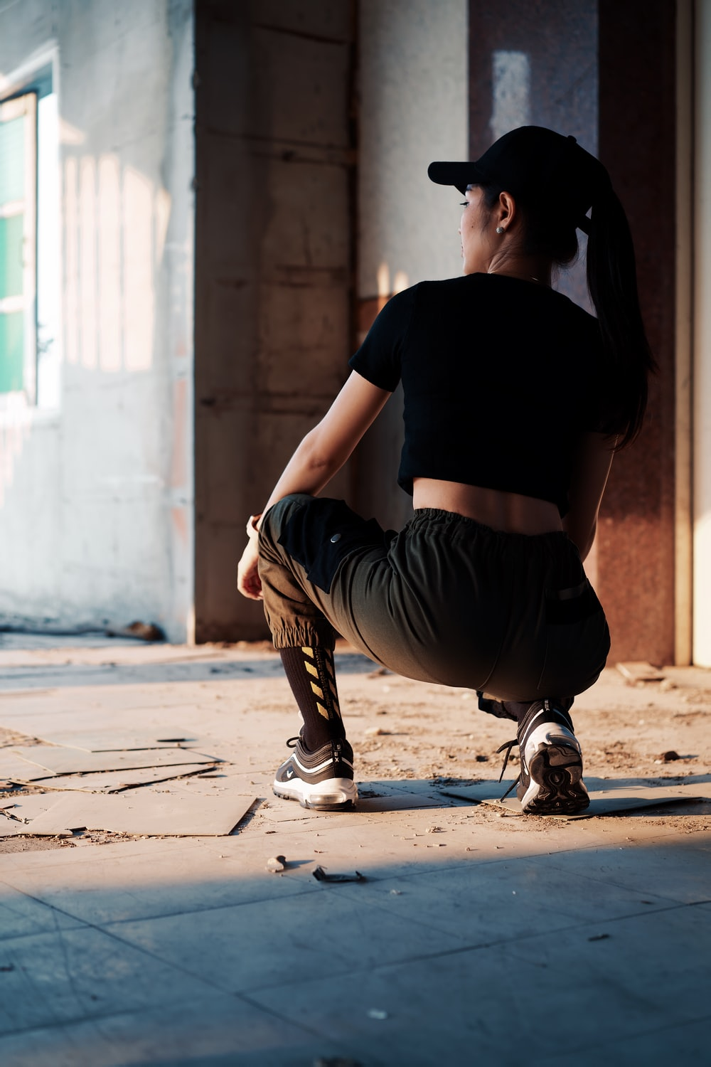 woman in a black gym clothes