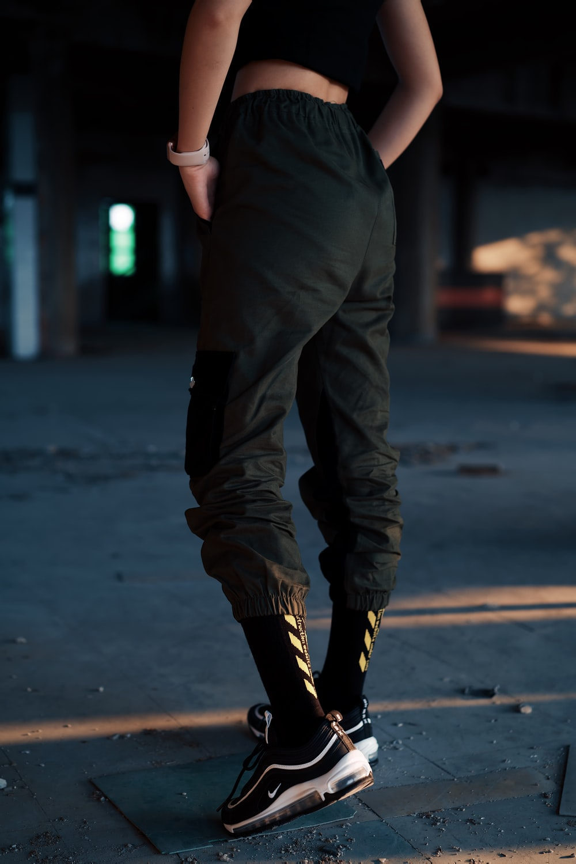 person wearing black pants