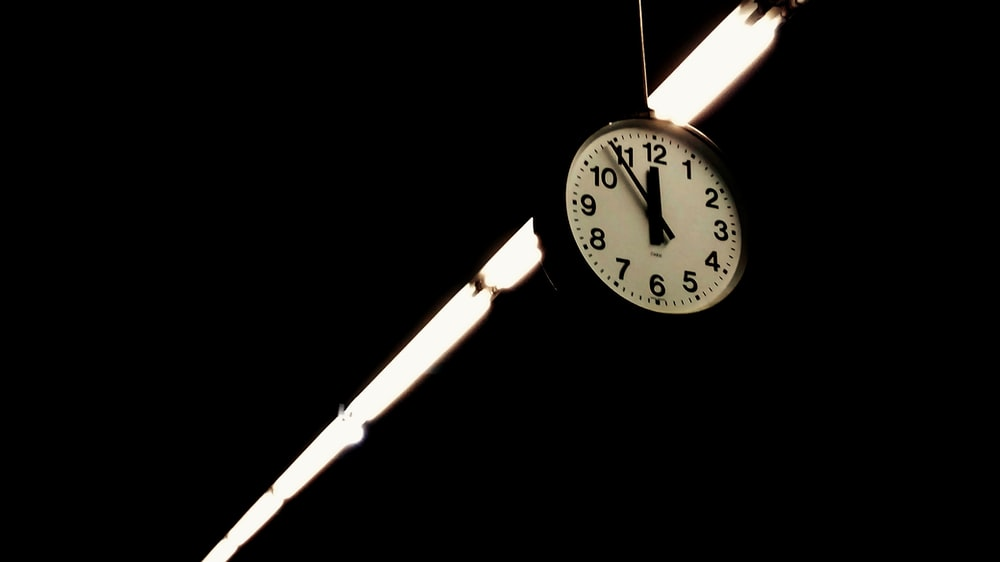 round black and white wall clock