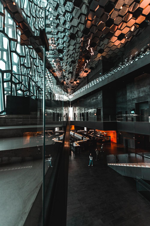 black building interior