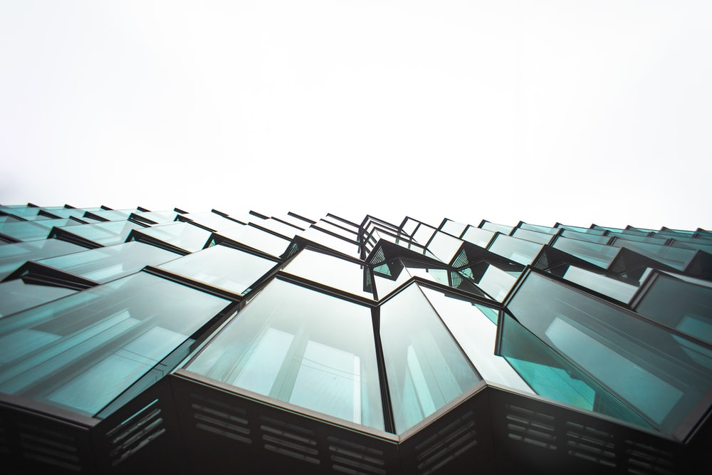 architectural photo of gray window panels