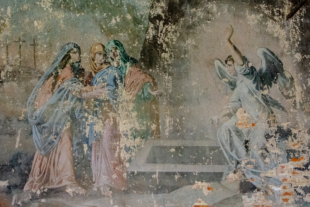 angel and three person painting