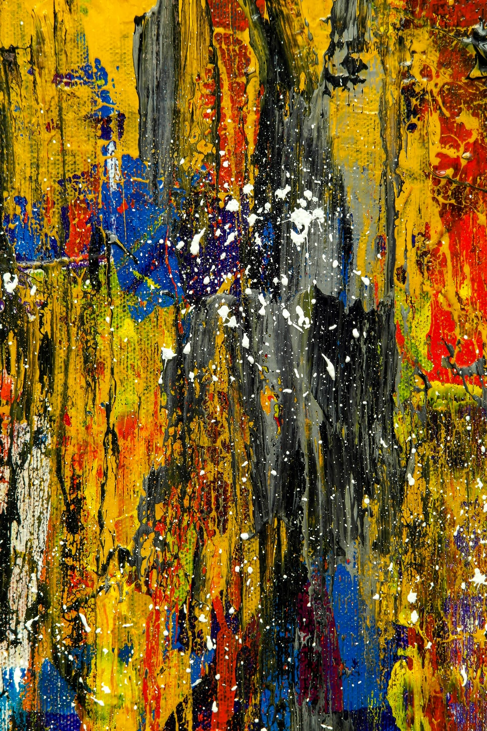 Black Red Yellow And White Abstract Painting Photo Free