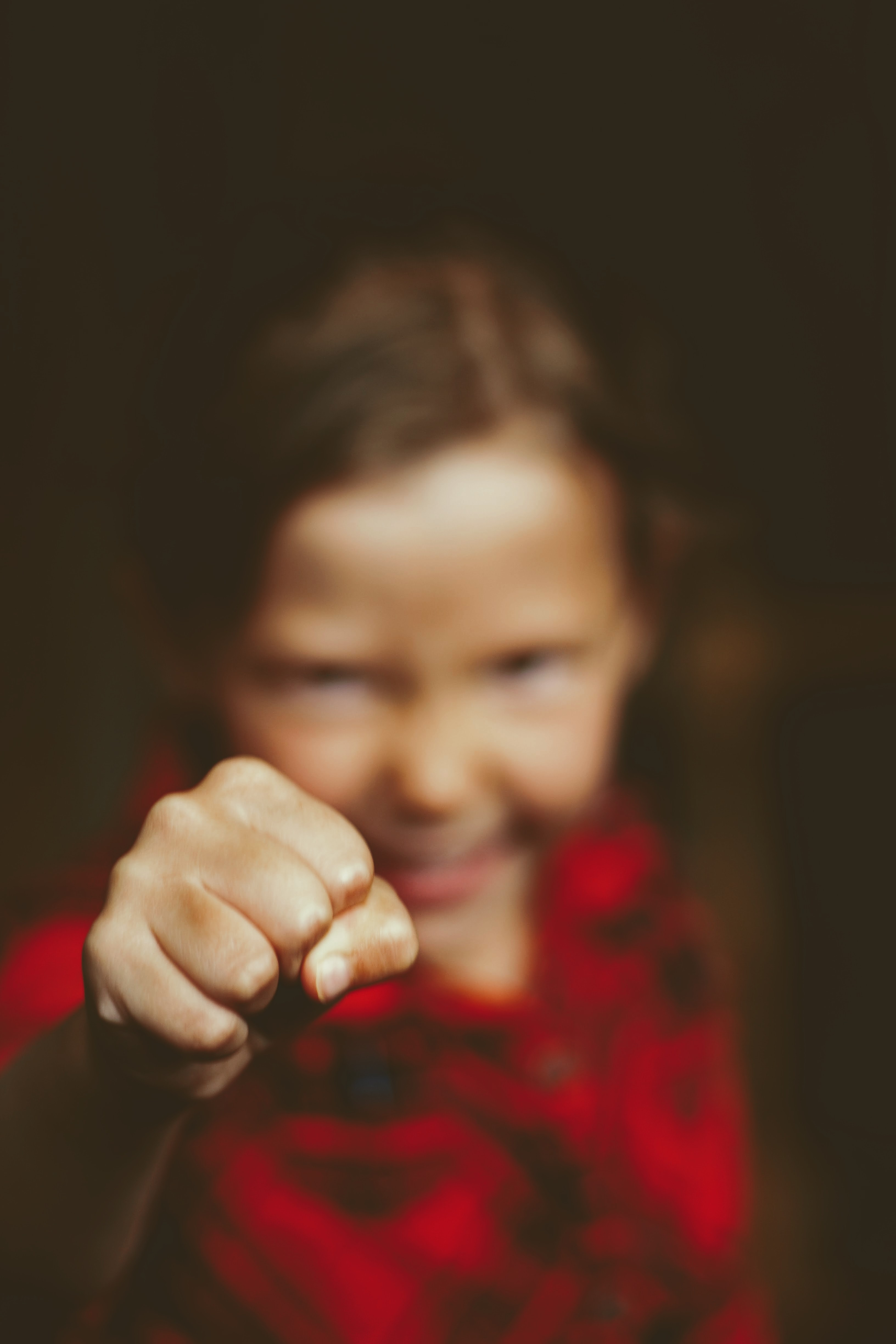 girl showing her fist