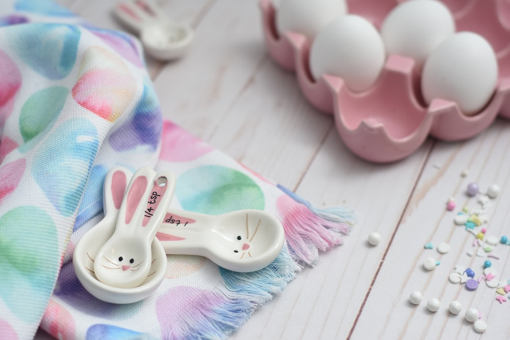 pink and white Easter egg decors