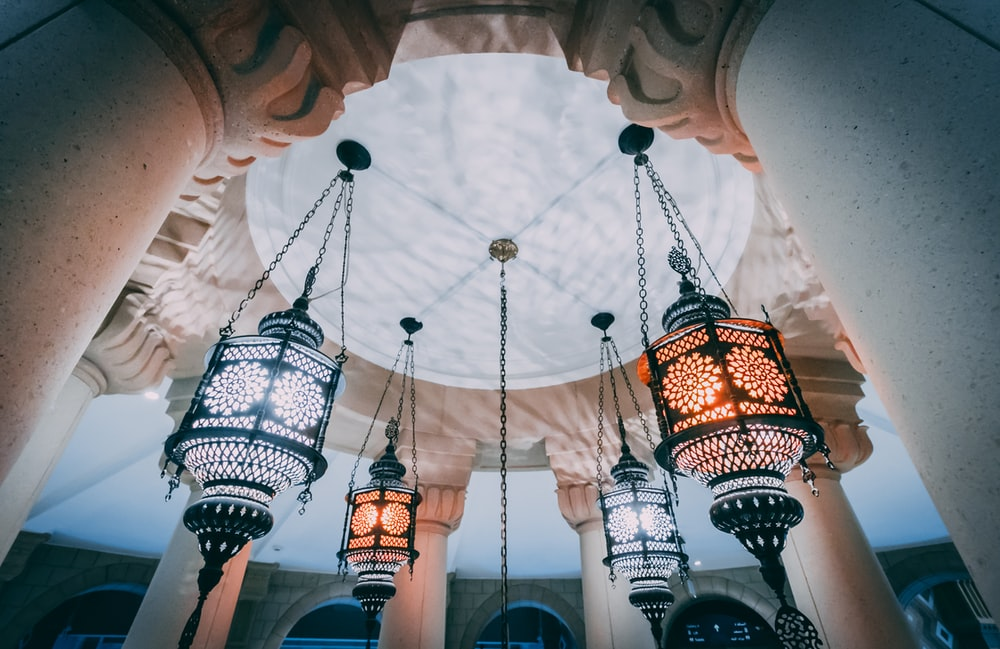 pendant lamps turned on inside dome