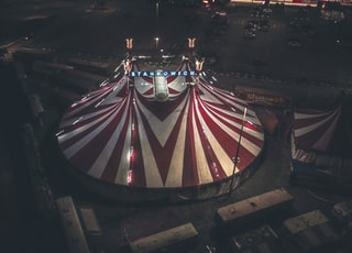 aerial photography of red and white tent
