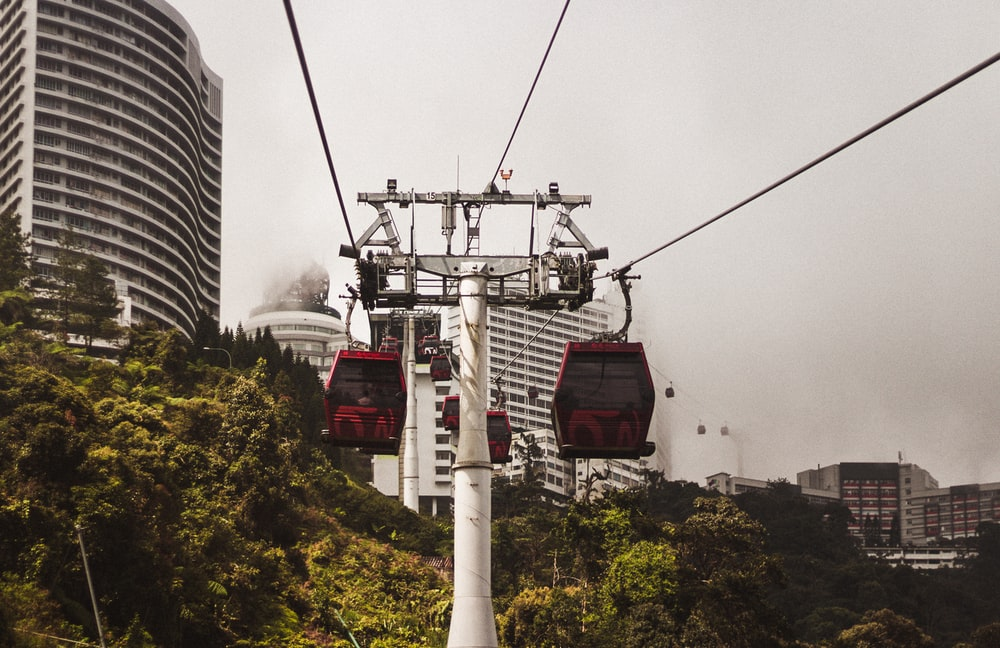 view of cable car at the city