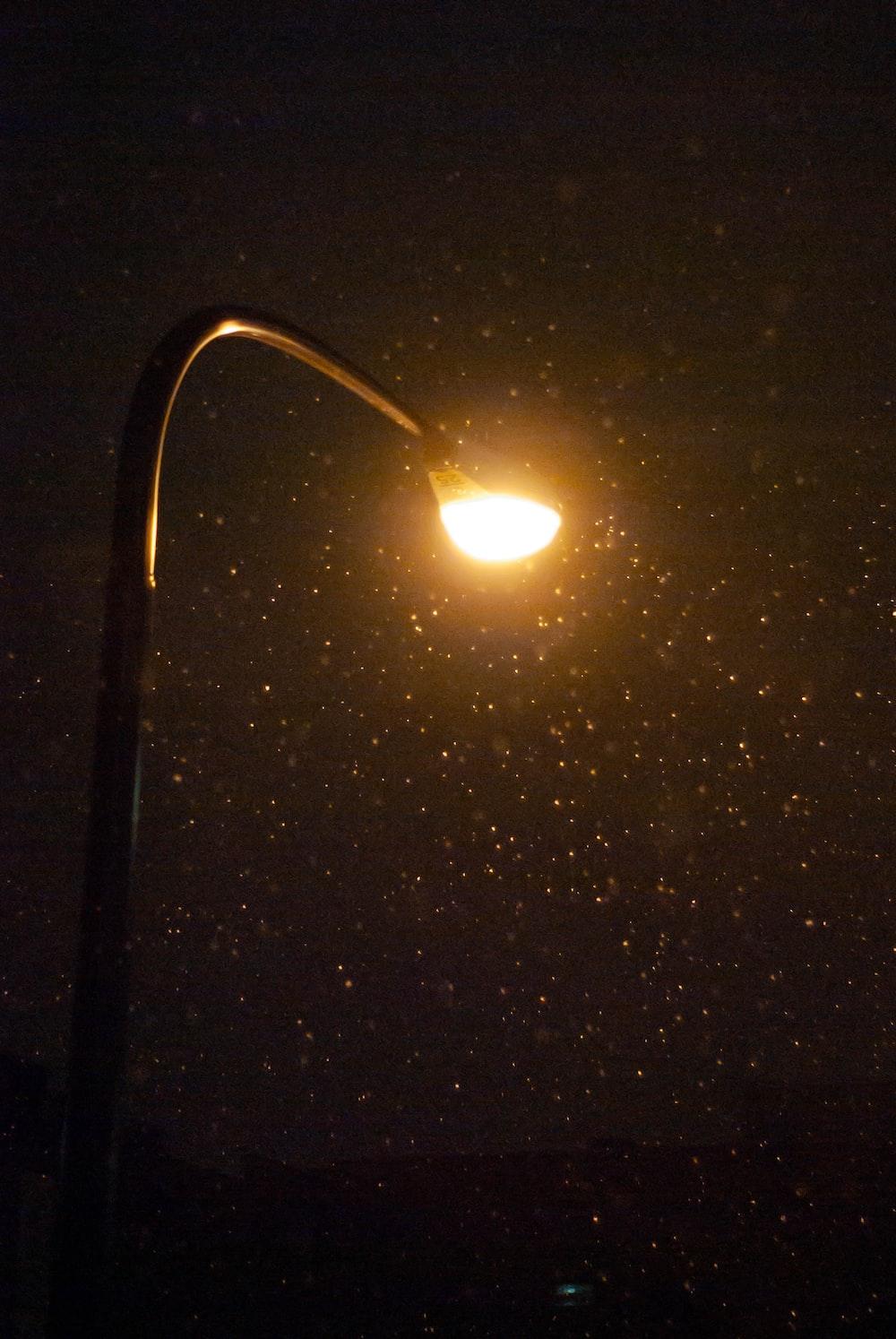 lighted black metal base light post