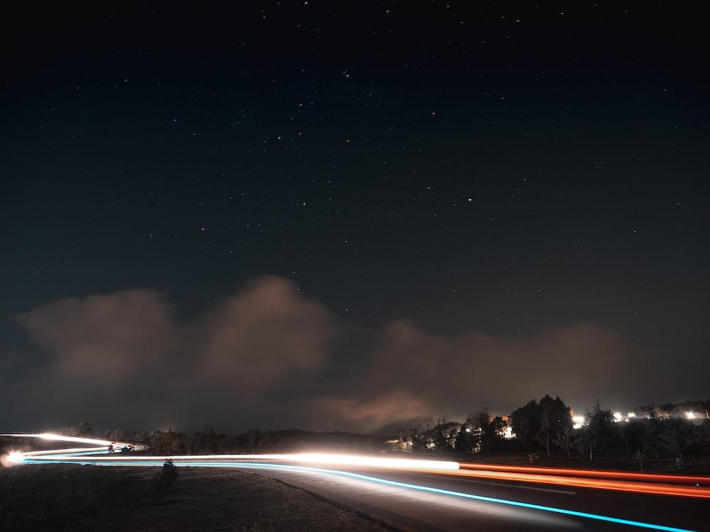 bokeh photo of street during nighttime