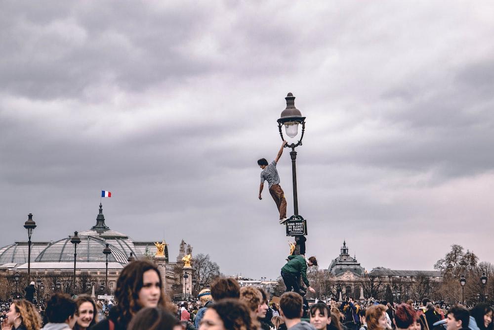 man on light tower