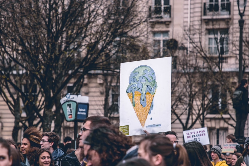 people protest about climate change at Paris France