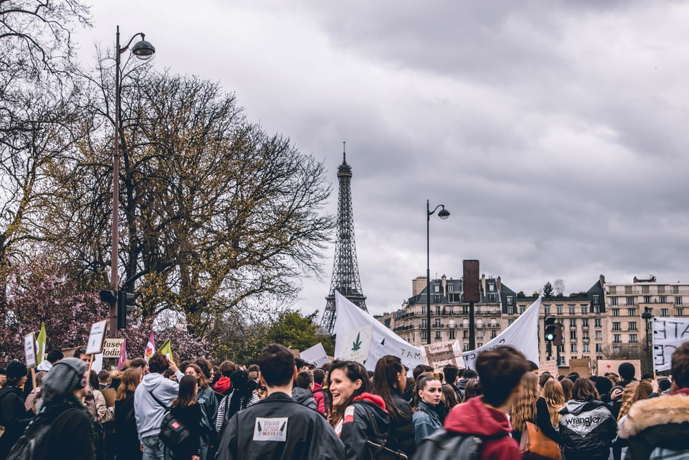 crowd of people at Paris France
