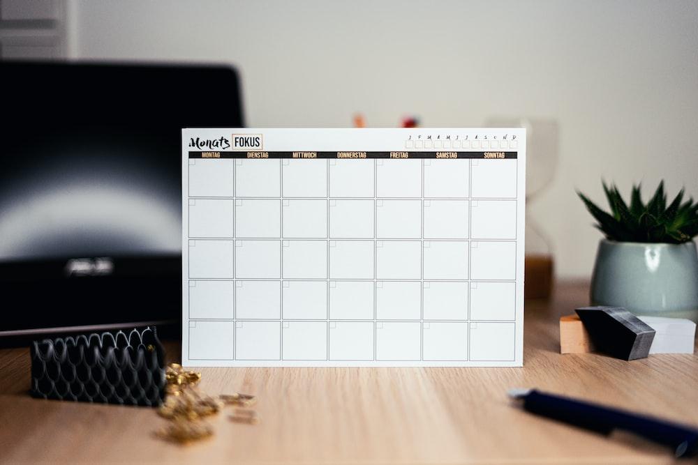 white calendar