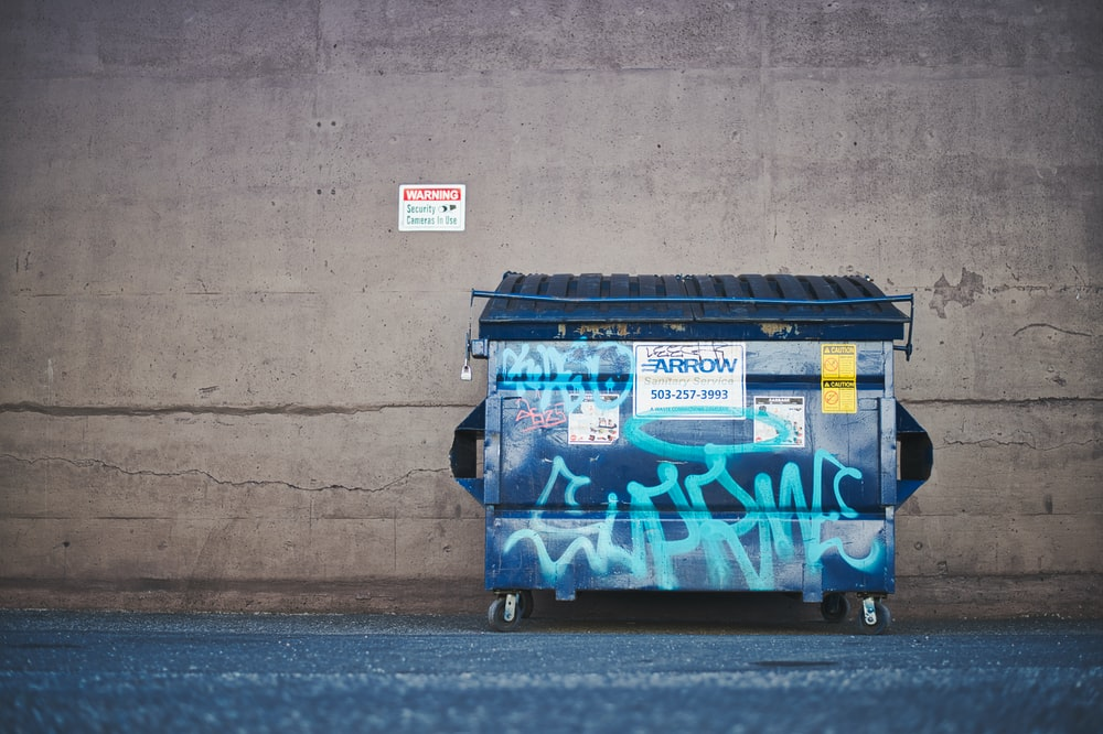 trash against wall