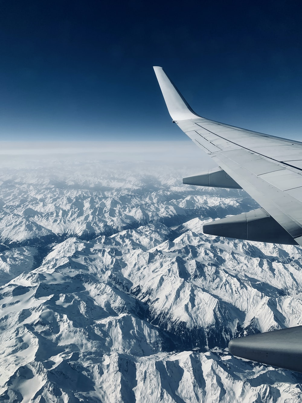 airplane view of glacier mountains