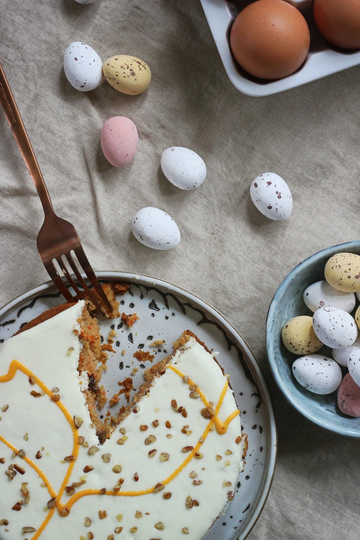 eaten cake beside eggs