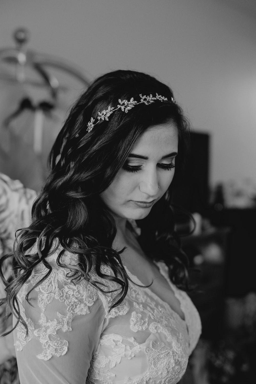 woman in lace wedding dress