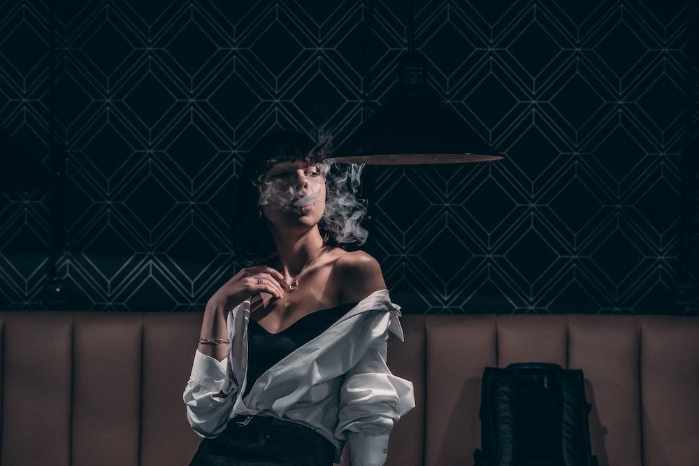 woman smoking indoor